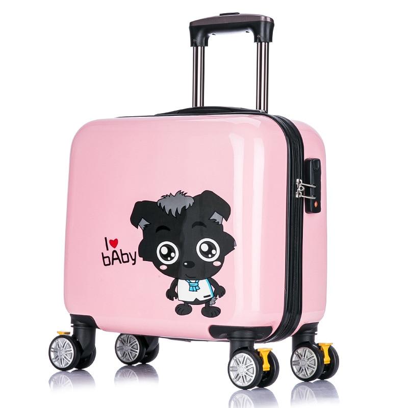 Новое поступление! детская Прекрасный мультфильм путешествия багажные сумки на универсальные диски, 16 дюймов розовый ABS Hardside Случае Камера ...