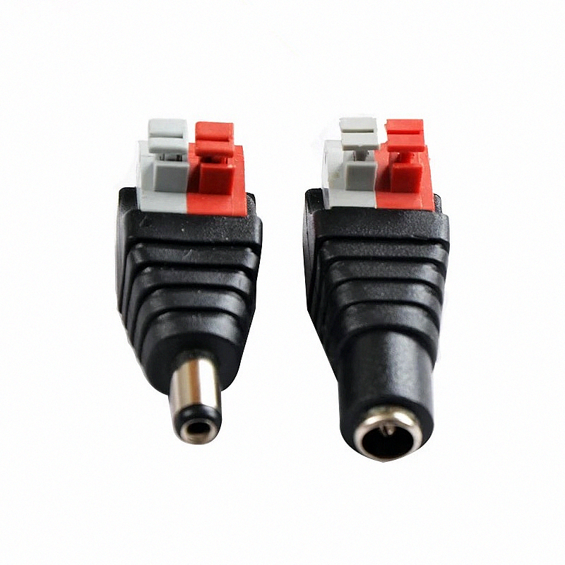 DC Male Female Power Plug Push Jack Adapter Wire Rca Connector Coaxial BNC Cable Cctv Connectors Free Welding