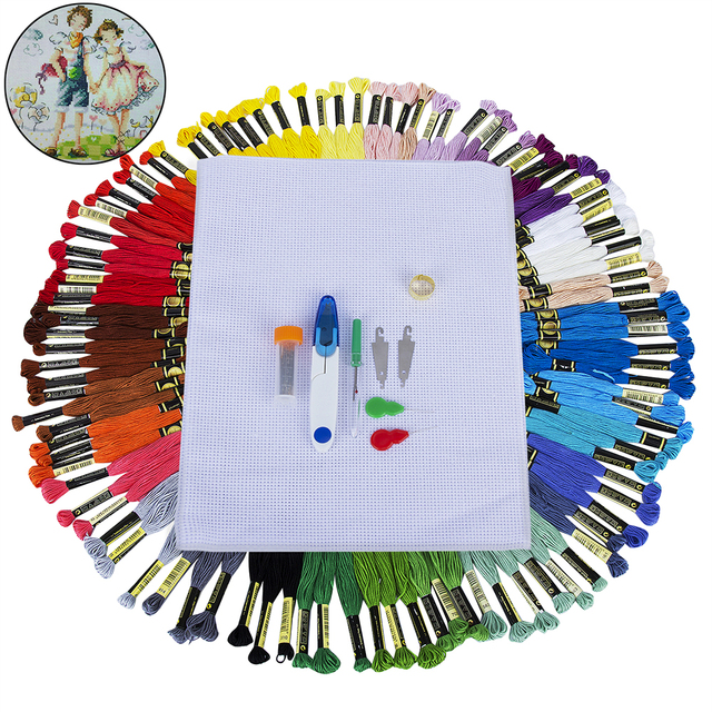 105 Skeins Cotton Embroidery Floss Multi Color Rainbow Color Cross