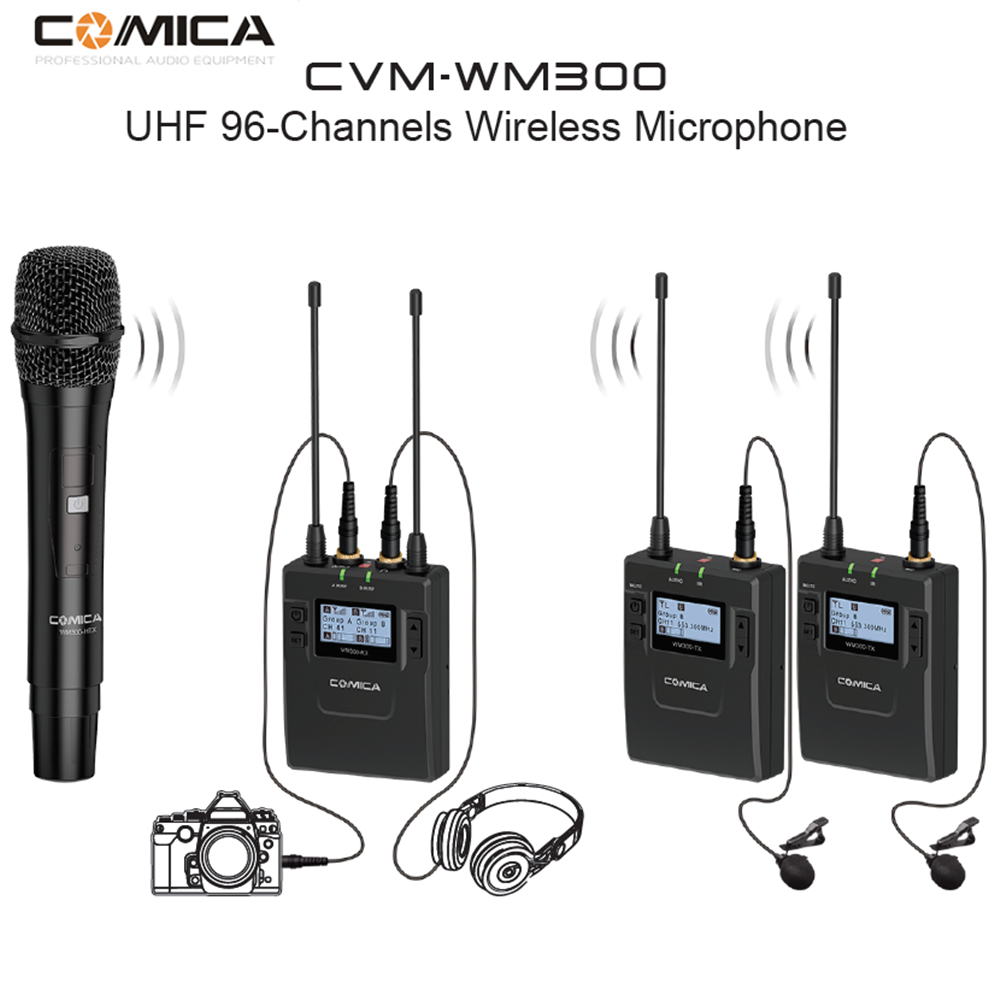 COMICA CVM WM300B D Metal UHF 96 channels Wireless Mono Stereo Lavalier Interview Microphone with Built in Battery for Canon Nik in Microphones from Consumer Electronics