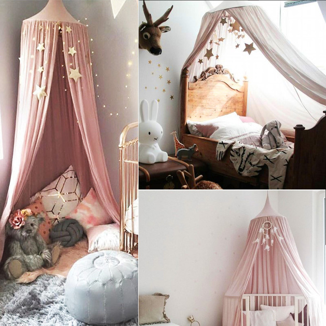 Kids Round Princess Canopy Bed Curtain Cotton Hanging Tent Hung Dome Baby Kids Play House Tents & Kids Round Princess Canopy Bed Curtain Cotton Hanging Tent Hung Dome ...