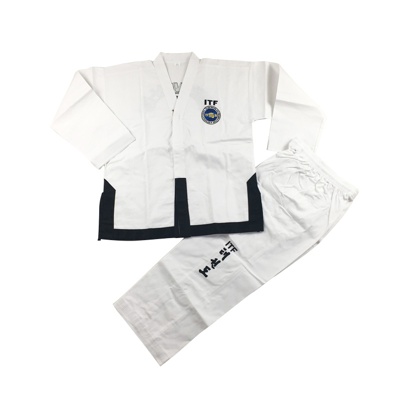 Taekwondo 1-3DAN Dobok Standard ITF Uniform For Master Assistant Instructor clothing Exquisite Embroidery Taekwondo Suit itf full embroidery taekwondo clothing standard plain 1 3 dan assistant instructor doboks 4 6 dan instructor uniforms wholesale