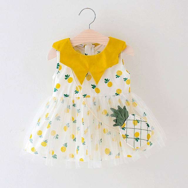 Toddler Kid Baby Girl Dress 2019 Girls Summer infant Dress Sleeveless Fruit Printed Party Princess Dress Clothing Dropshipping
