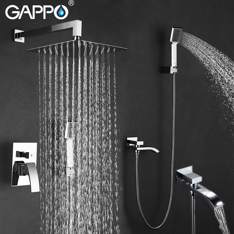 GAPPO in-Wall bathroom shower faucet set rainfall shower mixer taps chrome bathtub faucet tap waterfall shower head shower bath gappo bathtub faucet bath shower faucet waterfall wall shower bath set bathroom shower tap bath mixer torneira grifo ducha