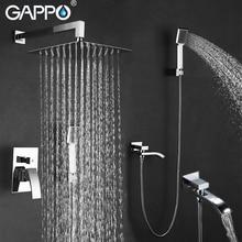 GAPPO בקיר מקלחת ברז סט מקלחת גשם מיקסר ברזי כרום אמבטיה ברז ברז מפל מקלחת ראש מקלחת אמבטיה