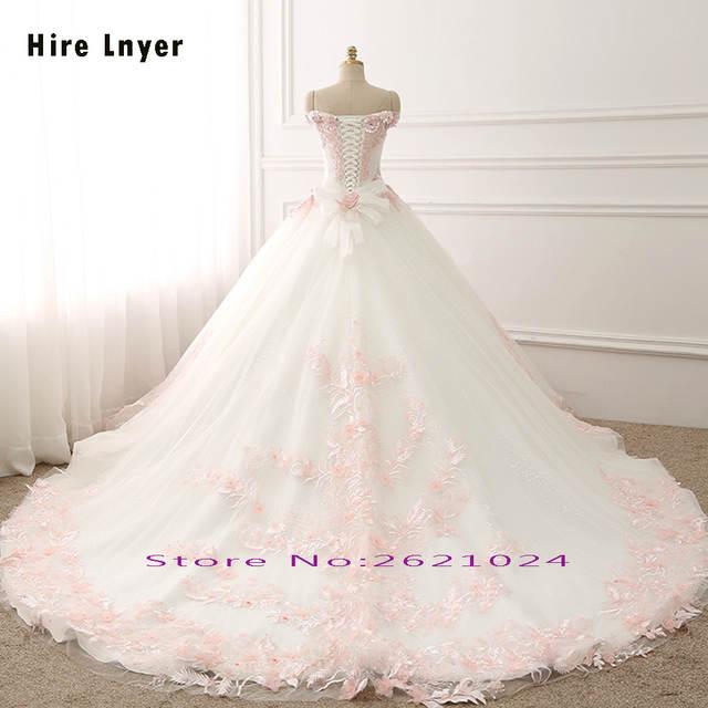 placeholder NAJOWPJG Off The Shoulder Short Sleeve Lace Up Princess Wedding  Dress Gelinlik 2019 Pink Flowers Appliques 07059334c92a