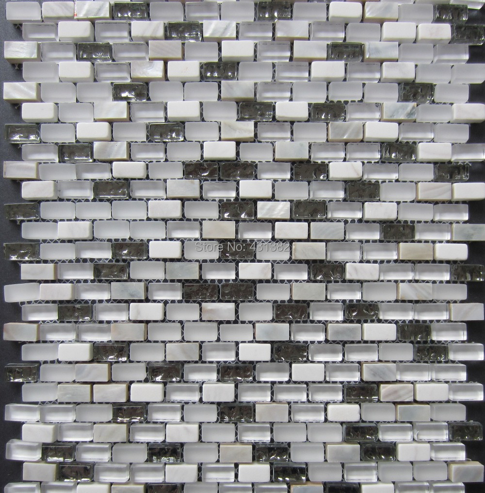 Glass mosaic tiles stone mosaic mixed shell mosaic tile on for Installing glass tile with mesh back