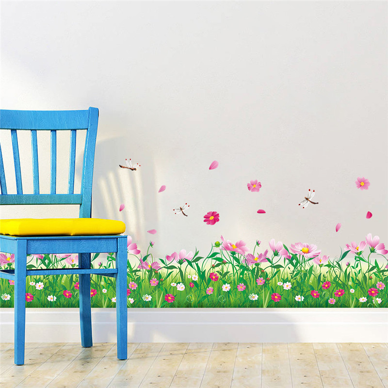 diy wall stickers home decor nature colorful flowers grass dragonfly stickers muraux 3d wall. Black Bedroom Furniture Sets. Home Design Ideas
