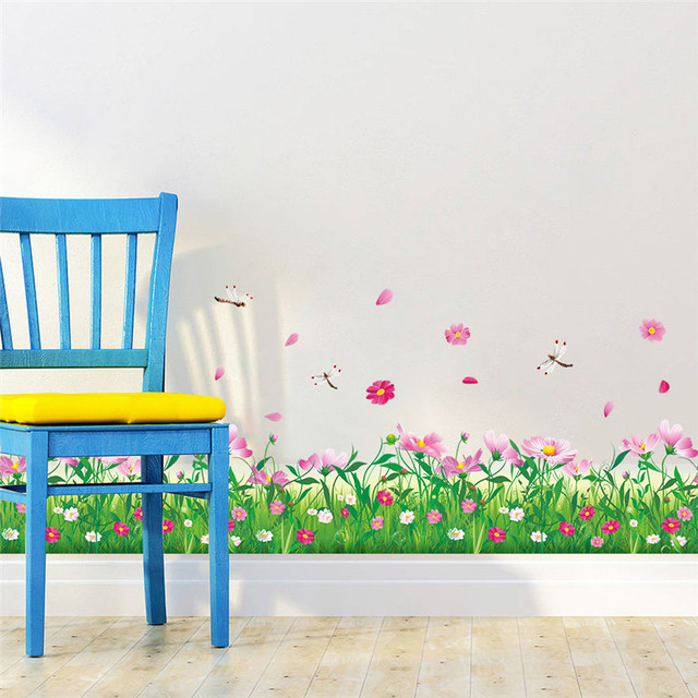 DIY wall stickers home decor Nature Colorful Flowers Grass dragonfly stickers muraux 3d Wall Decals floral pegatinas de pared