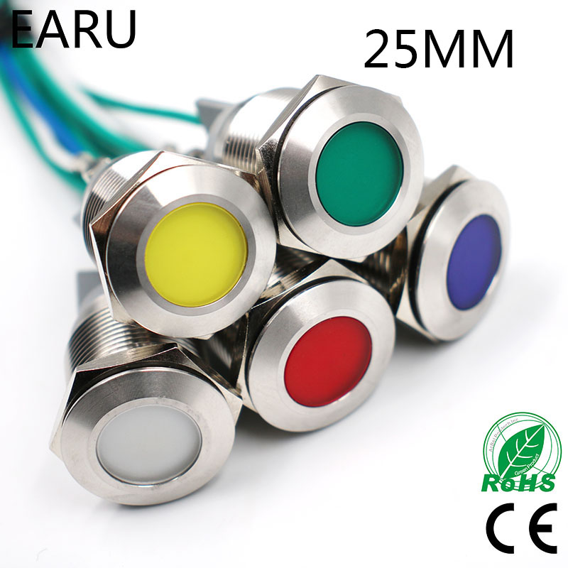 25mm Waterproof IP67 LED Metal Indicator Light Signal Lamp 5V12V 24V 110V 220V Red Yellow Blue Green White Boat Car Auto Pilot