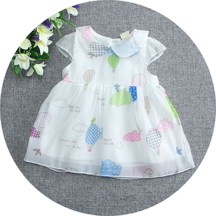 2016 Summer Wedding Clothing dress Baby Girl turn down collar Children Print dress cute newborn tutu dress toddler girls a line