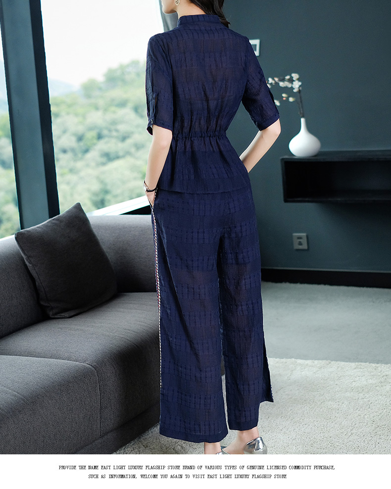 2019 Summer Two Piece Sets Outfits Women Blue Pink Short Sleeve Tunics Tops And Wide Leg Pants Suits Office Elegant 2 Piece Sets 56