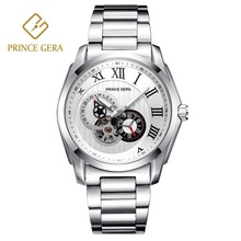 PRINCE GERA Shining Silver Top Automatic Watch For Men Luxury Sapphire Scratch-proof Business Mechanical Skeleton