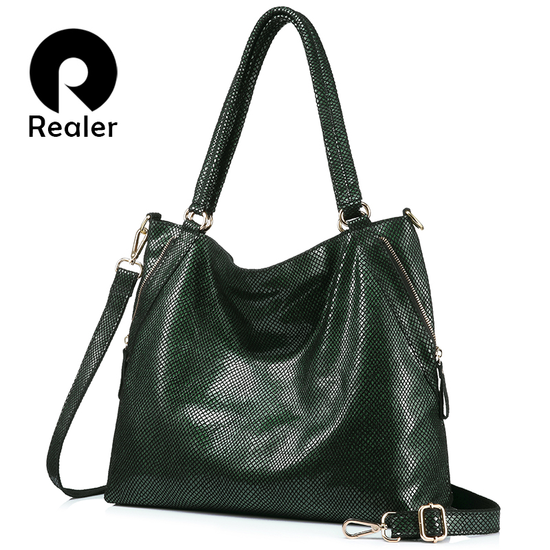 REALER brand women bag genuine leather handbag female large tote bag high quality serpentine print shoulder