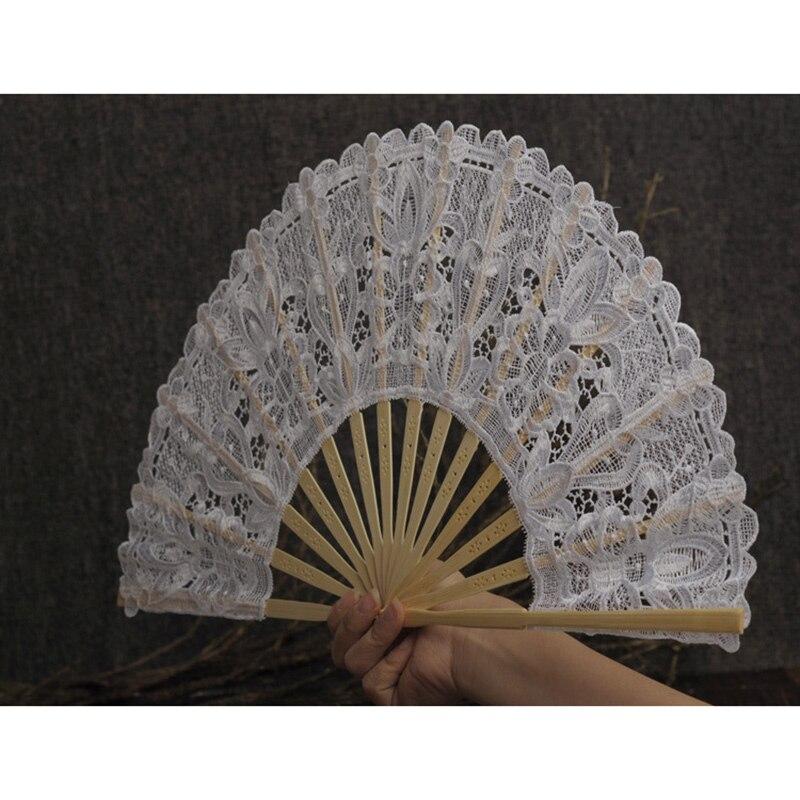Hot Hand Held Folding Fans Openwork Lace Lightweight Fans For Wedding Supplies MDD88