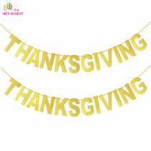 1set gold glitter paper Party Supplies Photobooth Festive Party Hanging Banner Thanksgive Paper Festoon Thanksgiving Decoration(China)