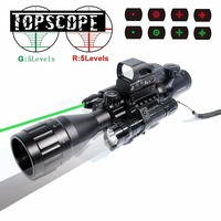 Laser Scope 4 16x50 Red Green Illuminated Reticle Riflescope Sniper Scope with Flashlight 20MM Rail Mounts for Hunting ar ak m4