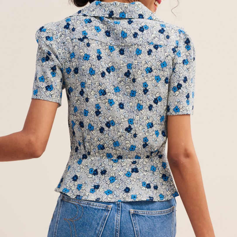 Arvinxia ZA Sexy Flower Printed Short Sleeves Woman Blouse Fashion Turn Down Collar Ladies Shirts Casual Streetwear Button Blusa