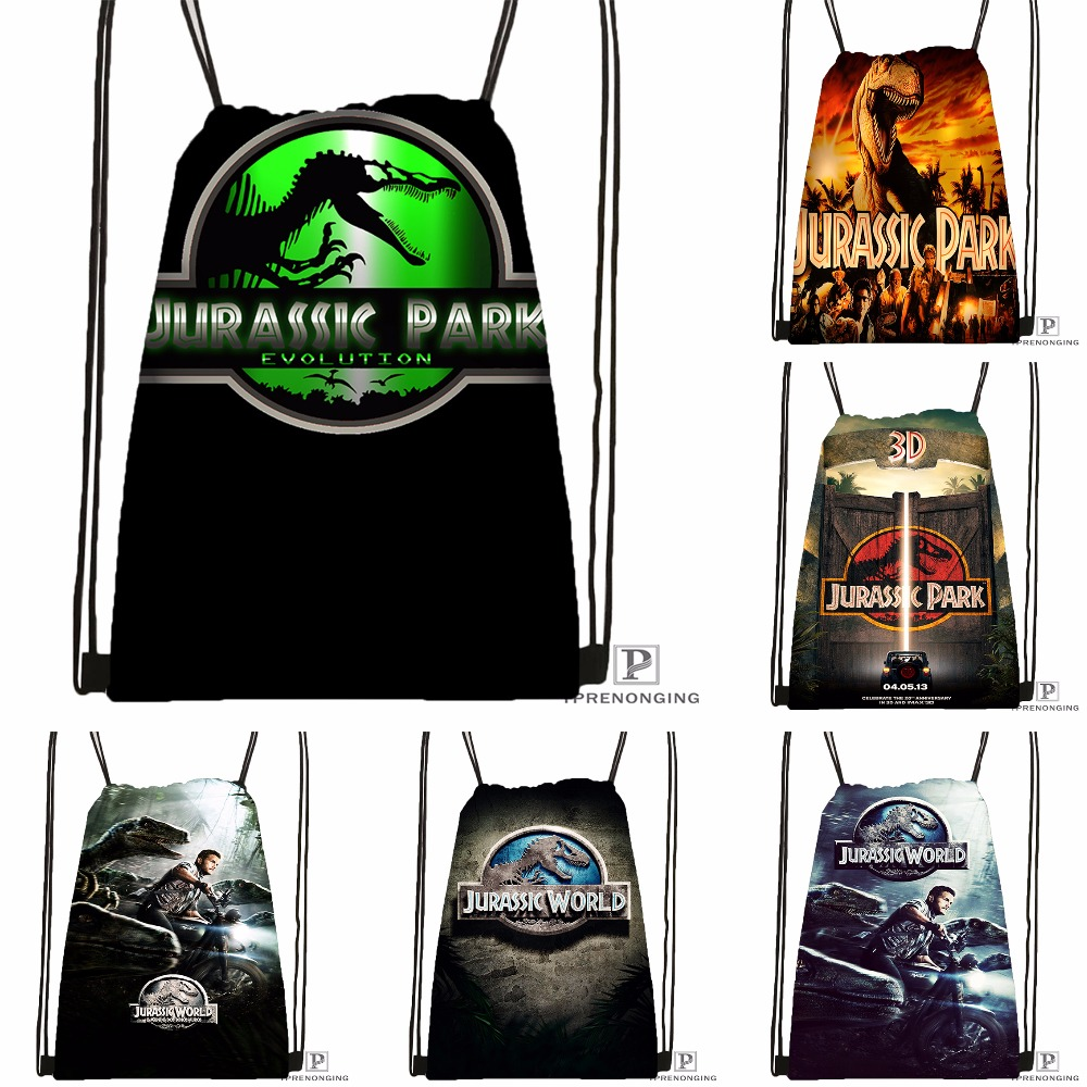 Custom Jurassic Park Drawstring Backpack Bag Cute Daypack Kids Satchel (Black Back) 31x40cm#180531-03-58