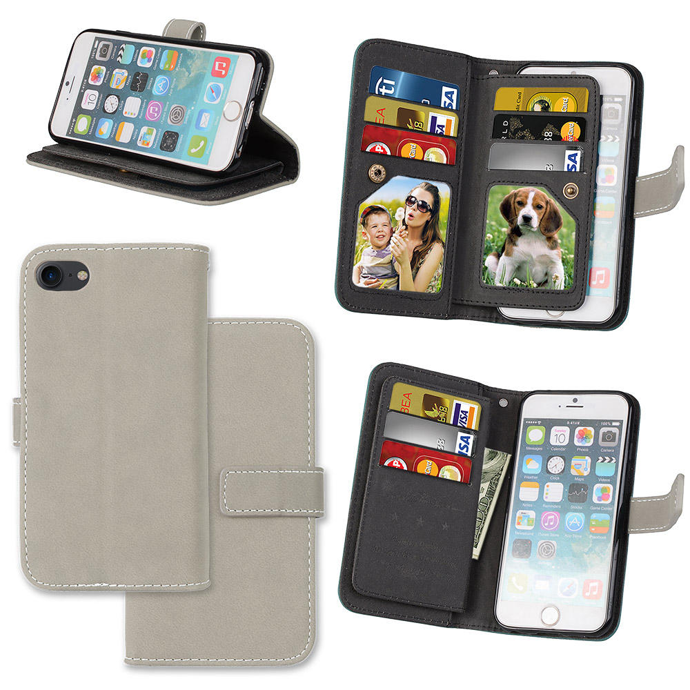 LUCKBUY 7 7Plus täcker lyx PU-läder plånbok Matt Flip Fodral för - Reservdelar och tillbehör för mobiltelefoner - Foto 6