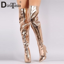 DORATASIA brand new plus size 33-48 patent pu leather high heels pointed toe shoes woman party office sexy over the knee boots