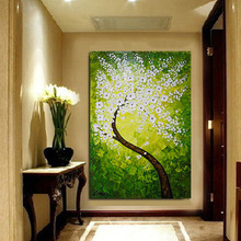 Free Shipping Oil Painting Modern Home Oil Painting Palette Knife Modern Paintings Green Tree Wall Pictures For Living Room