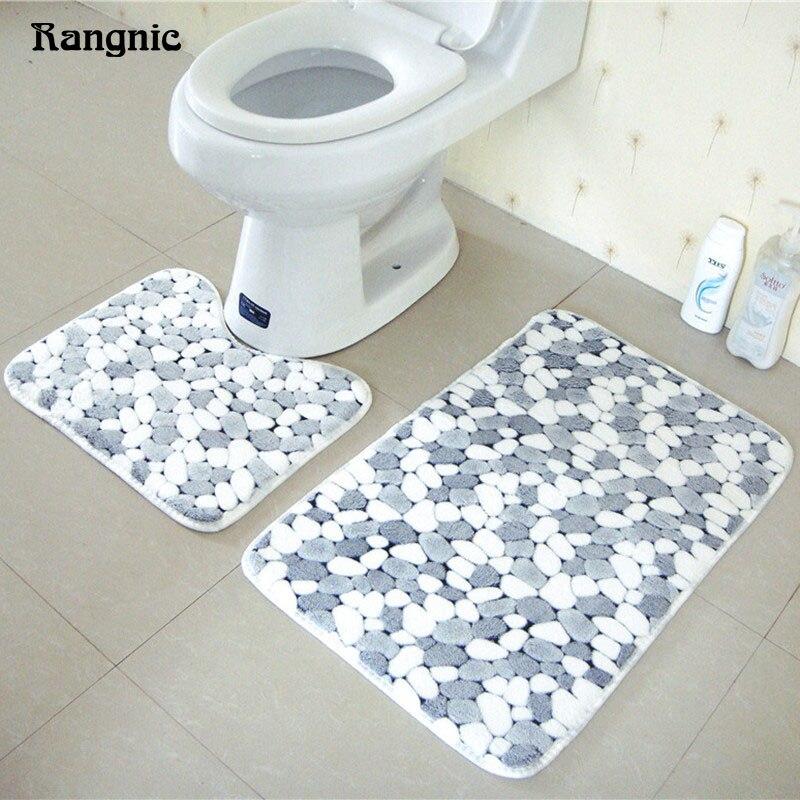 Rangnic Doormat Bathroom Memory Foam Rug Outdoor office chair lounge pad Set 2pcs Non Sl ...