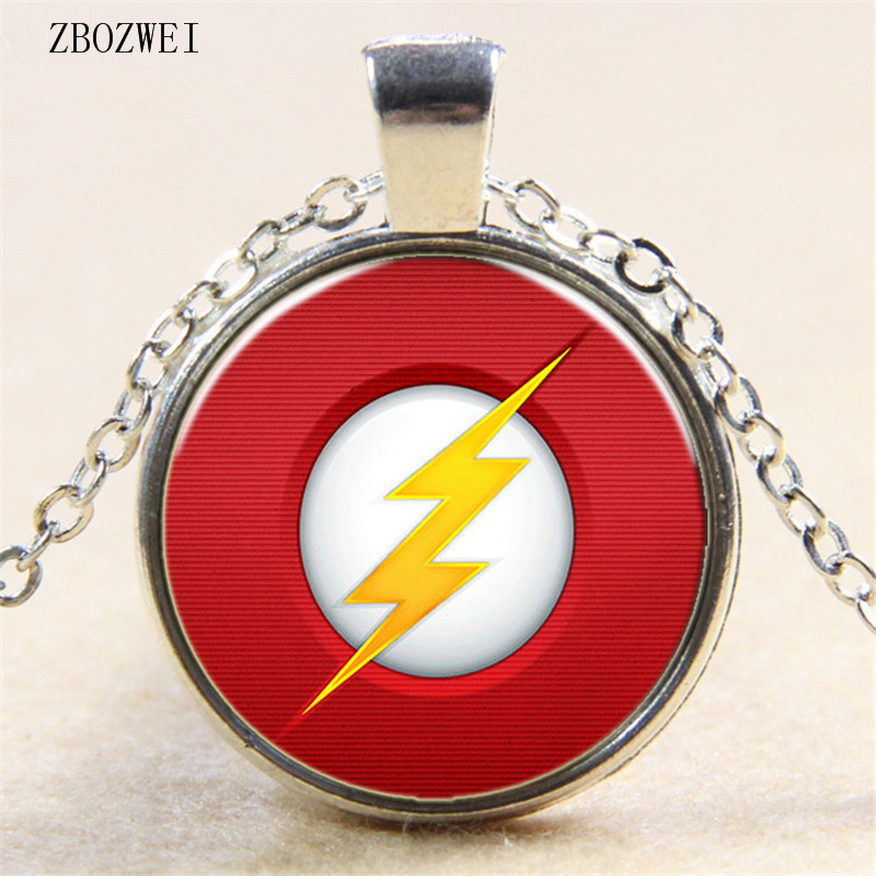 Heat Comic Lightning Telecom Icon Glass Pendant Necklace