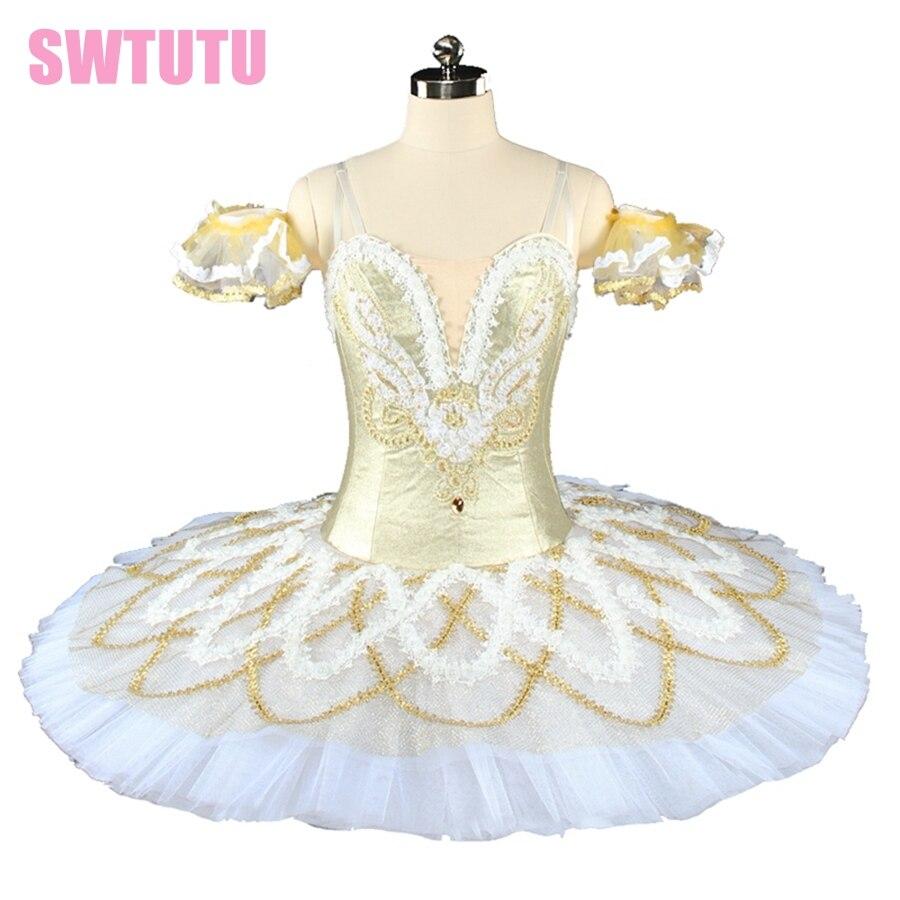 Women nutcracker tutu professional ballet tutu  white  gold classical ballet dress  for girls pancake tutuBT9154