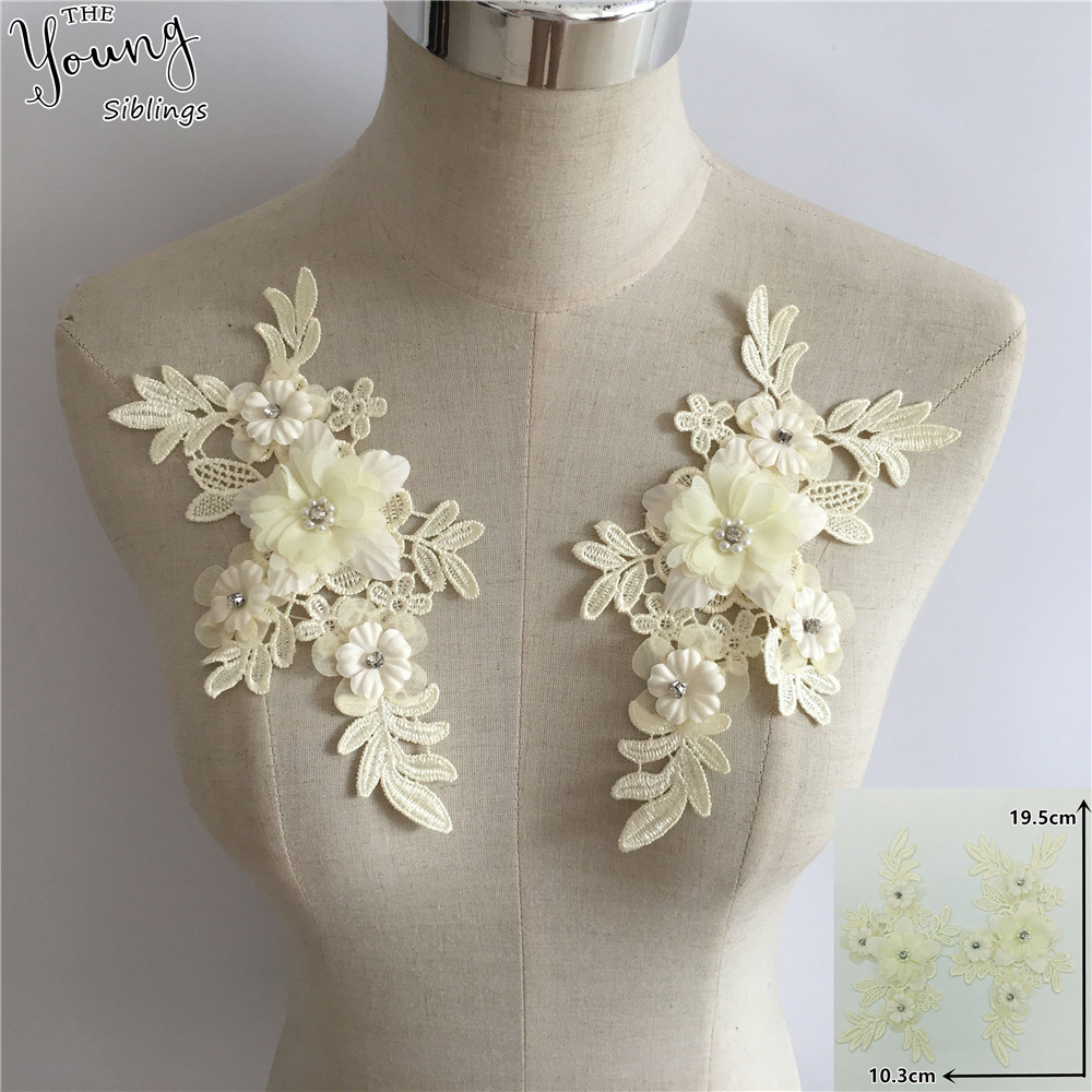 One Pair Beaded Appliques Lace Trims 3D Floral Embroidery Lace Trims for Bridal Accessories Supply