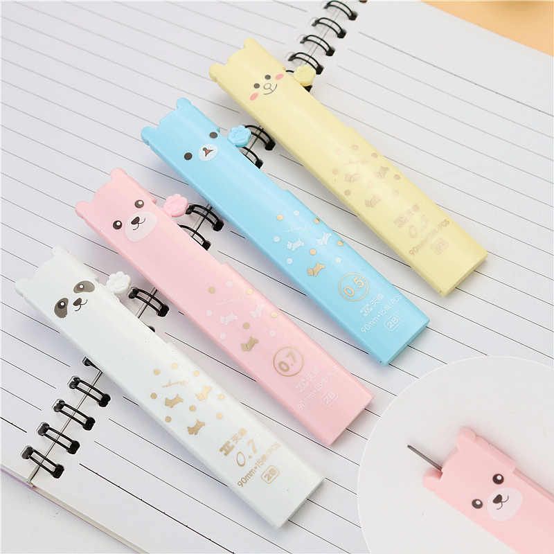 Cute bear automatic pencil lead 0.5mm 0.7mm 2B painting Mechanical Pencil refills 15 leads a box