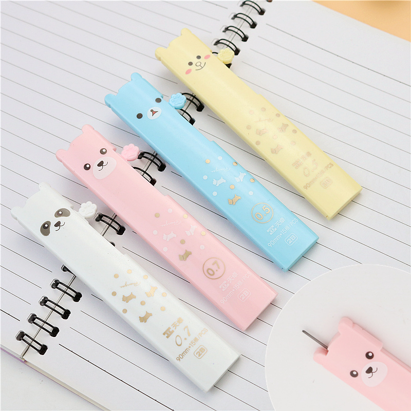 Cute bear automatic pencil lead 0.5mm 0.7mm 2B painting Mechanical Pencil refills 15 leads a box image