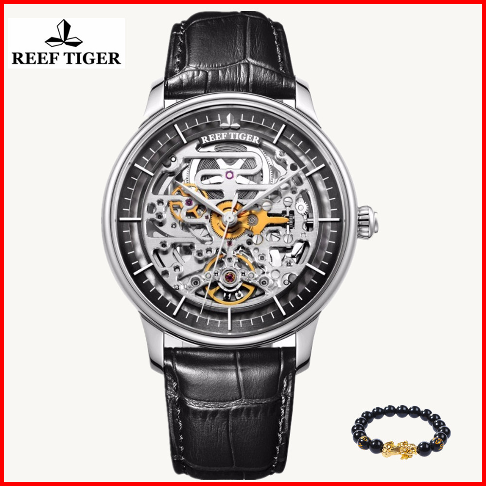 Reef Tiger Luxury Brand Designer Skeleton Mens Watch Reloj Hombre Steel Case Calfskin Leather Waterproof Automatic Wrist WatchReef Tiger Luxury Brand Designer Skeleton Mens Watch Reloj Hombre Steel Case Calfskin Leather Waterproof Automatic Wrist Watch