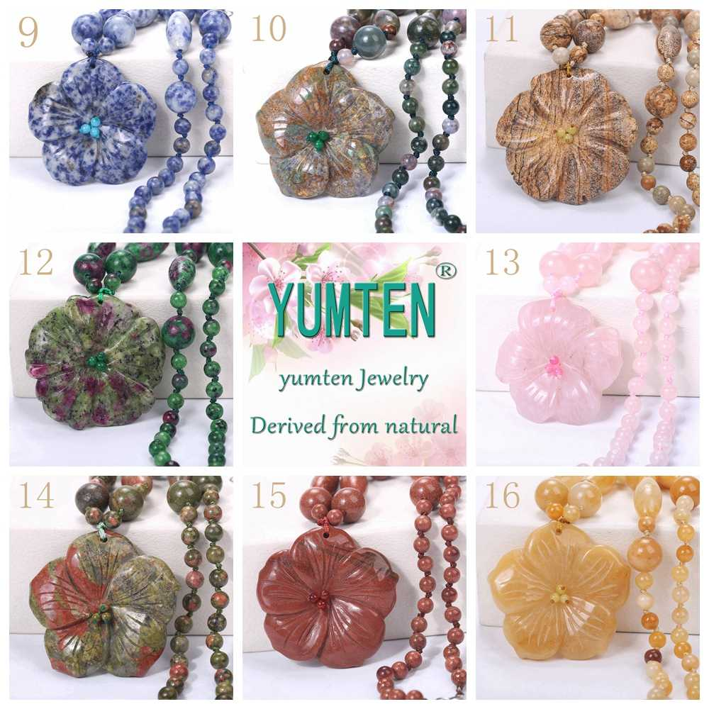 Yumten Women Statement Necklace Flowers Natural Stone Pendant Gemstone Men Accessories Fashion Short Necklace Crystal Jewelry