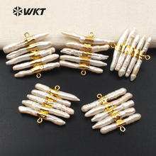 WT JP039 WKT New Design Fashion Charming Connector And Natural Freshwater Pearl Irregular Shape For Jewelry Making Findings