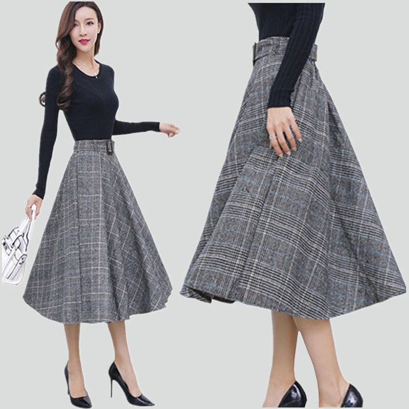 Autumn New Style Long Large Swing Skirt Plaid Retro A Line Women Wild Thick Fashion Knee Length Femme High Waist Jupe MZ3145