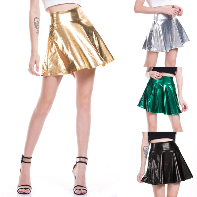 e9b4597a40 New Arrival Fashion Women Shiny Metallic Skate Pleated Skirt Patent Leather  Flare Mini Skirt Ladies Sexy Party Dancing Clubwear