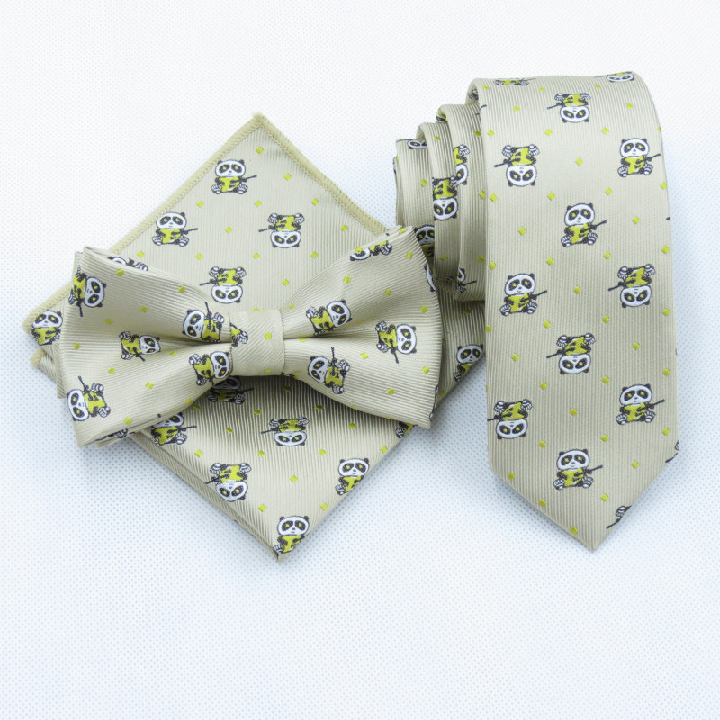 100% Polyester Khaki Tie Male Korean Skinny Tie  Men Leisure Tie Style Cartoon Panda Playing 6cm Tie Pocket Square