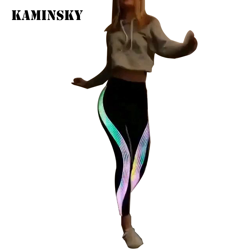 Kaminsky Black   Leggings   Women Fashion Polyester High Waist Ankle-Length Pants Glowing Stripe Push Up Sportwear Girl   Leggings