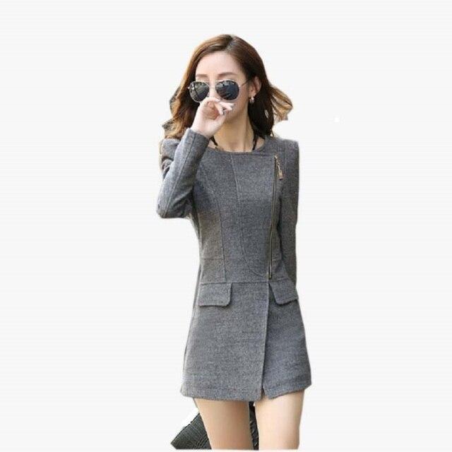 0e77ab049f 2017 Novos Inverno Mulheres Blazer fino terno casaco de lã colorida jaqueta  de gola terno feminino
