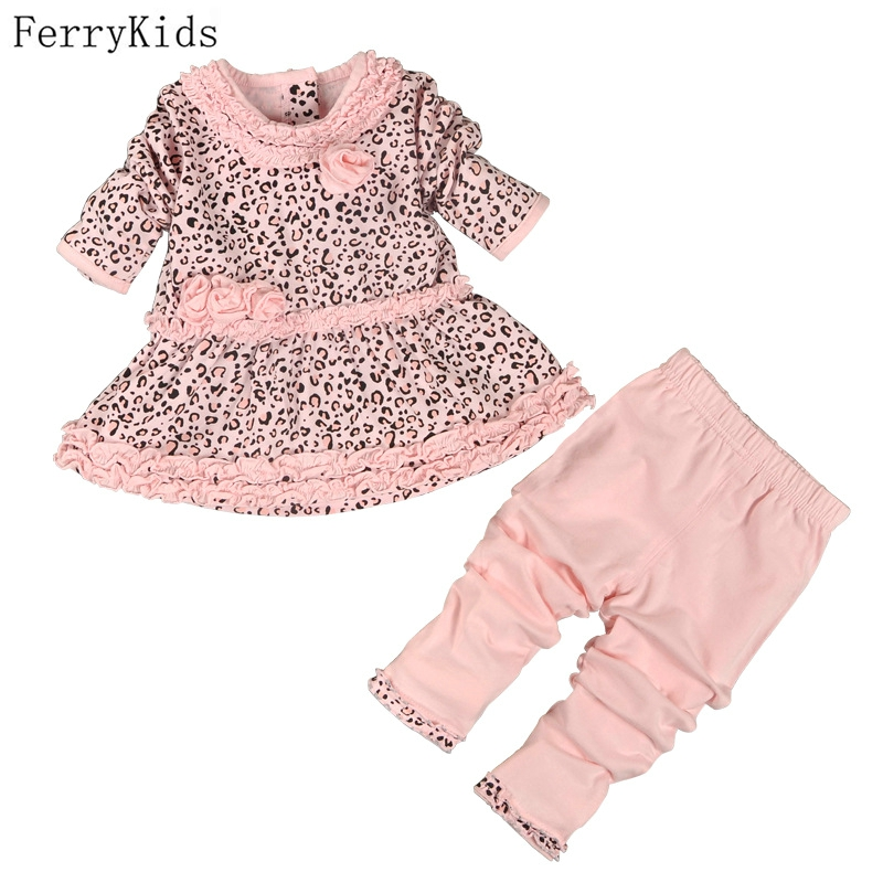 2016 New Fashion Baby Girl Clothes Sets Infant Clothing Set Baby Girl Birthday Dresses Set Baby Clothes Leggings Cotton Print