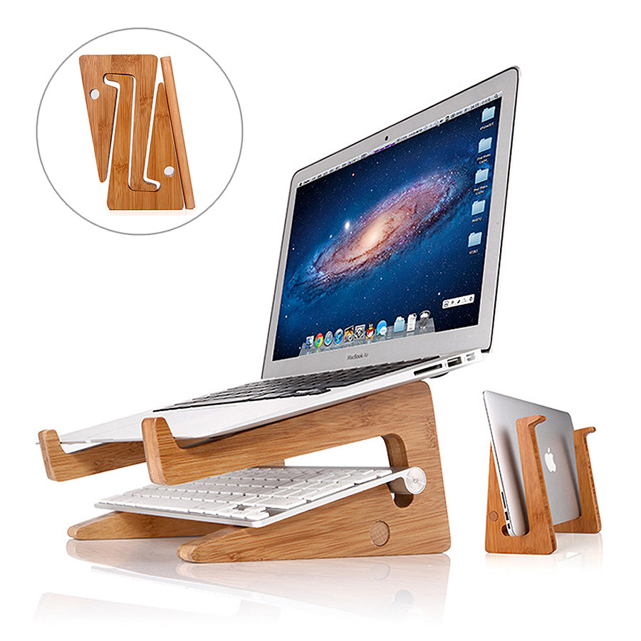 double layer bamboo foldable laptop stand wooden cooling pad laptop desk for 11 15 inch - Ergonomic Desk Design