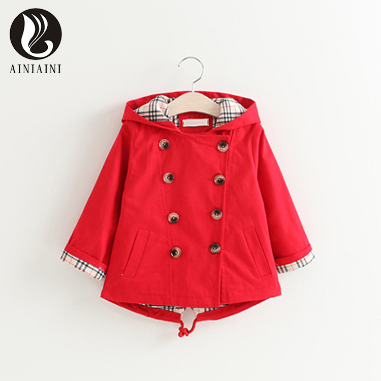 2017 Spring Autumn Double Breasted Regular Style Children Windbreaker Character Round Neck Full Clothing For Girls