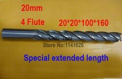 Darmowa wysyłka 1 sztuk 20mm 4 flet HSS i specjalne rozszerzona długość Aluminium Frez palcowy CNC Bit frezowanie maszyny do cięcia narzędzia