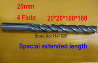 Free shipping 1pcs 20mm 4 Flute HSS & Special extended length Aluminium End Mill Cutter CNC Bit Milling Machinery Cutting tools