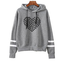 Women Fleece Hoodies Winter Sweatshirt Printing Stripped Long Sleeve Drawstring Pullover Sweatshirt Female Jumper Sportswear#23(China)