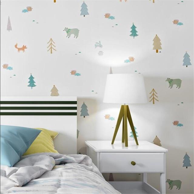 bedroom korean cartoon boy animal wallpapers doodle children beibehang nordic parede papel mouse
