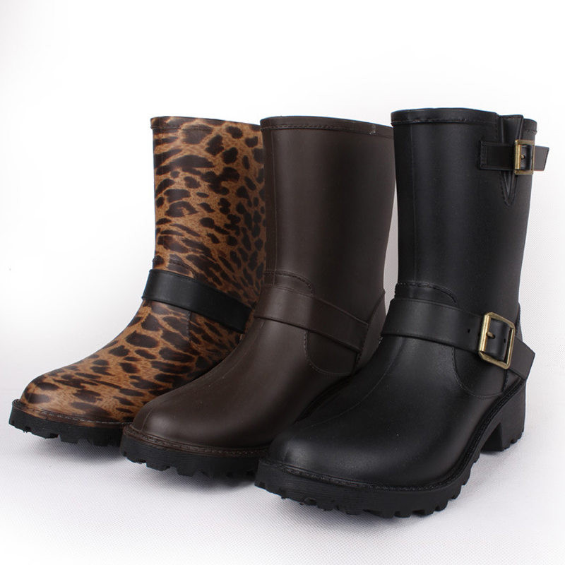 2015 Hot sale leopard 3 pattern women rainboots waterproof mid-calf boots PVC women rain shoes botas de agua wellies YX003 wellies polka dot breathable belt single shoes wading mid calf fashion gum canister rain womens boots women colorful antiskid