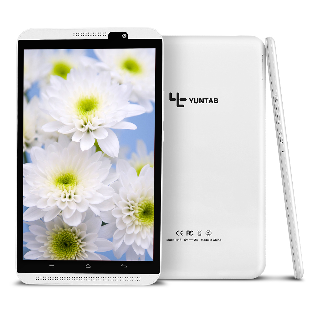 Yuntab 8 Android 7.0 Tablet PC H8 Quad-Core 2 GB RAM 16 GB ROM 4G Mobile Téléphone avec double caméra bluetooth 4.0 support SIM carte