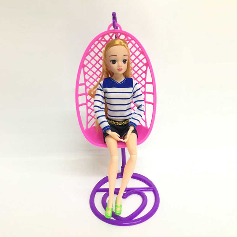 Handmade Doll House Decoration Kid's Play House Toys Plastic Swing Chair For for Doll Dollhouse Miniature Furniture Toys